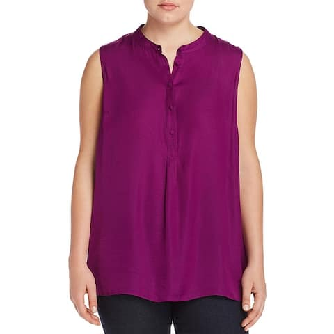 Vince Camuto Womens Plus Tunic Top Satin Sleeveless - Rich Magenta