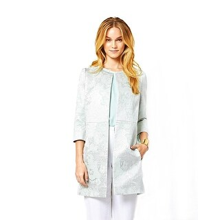 Ariana Rockefeller Emily Brocade 3/4 Sleeve Open Front Jacket Coat Mint