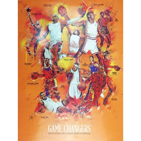 Basketball Poster Black Sports History (18x24) - Multi-Color