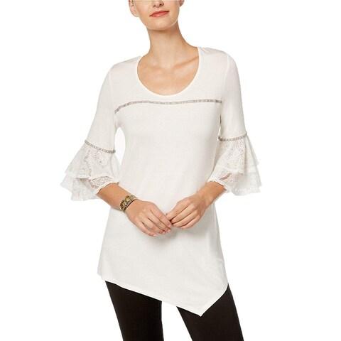 NY Collection White Women's Medium M Lace-Cuff Asymmetrical-Hem Top