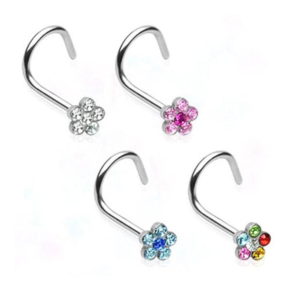 Surgical Steel Nose Screw with Gem Paved Flower - 20 GA (Sold Ind.)