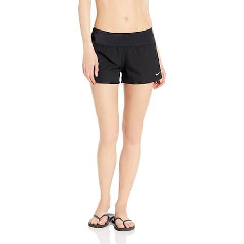 Nike Swim Women's Solid Element Swim Boardshort, Black,, Black, Size Medium