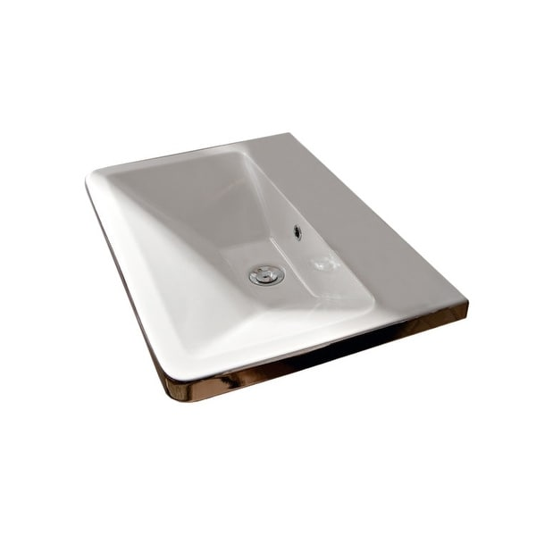"Nameeks 4004 Scarabeo 27-3/4"" Ceramic Wall Mounted / Vessel Bathroom Sink with 1 / 3 Holes Drilled"