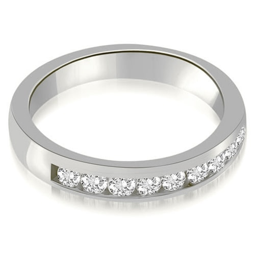 0.63 cttw. 14K White Gold Classic Channel Round Cut Diamond Wedding Band