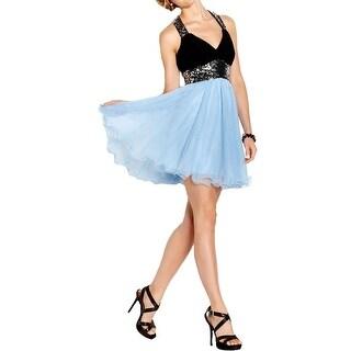Blondie Nites Womens Juniors Cocktail Dress Sequined Sleeveless - 7