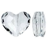 Swarovski Elements Crystal, 5741 Love Heart Bead 12mm, 2 Pieces, Crystal