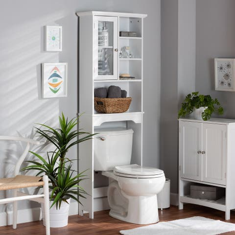 Campbell White Finished Wood Over the Toilet Bathroom Storage Cabinet