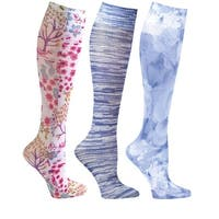 Women's Mild Compression Wide Calf Knee Highs - Denim Prints - Set of 3 - Medium