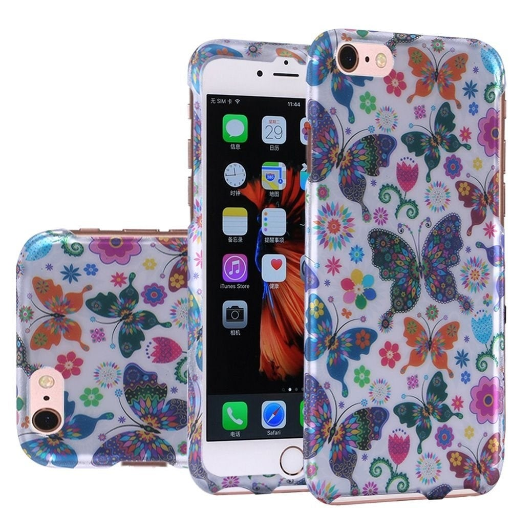 Insten Colorful Butterfly Hard Snap-on Rubberized Matte Case Cover For Apple iPhone 6/ 6s - Thumbnail 0