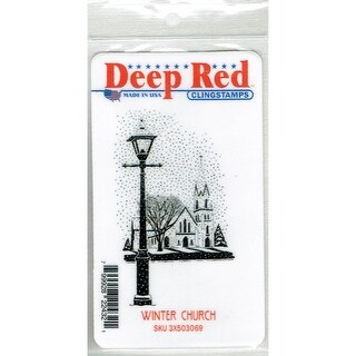 Deep Red Stamps Winter Church Rubber Cling Stamp - 2 x 3