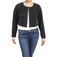 City Chic Womens Plus Jacket Cropped Spliced