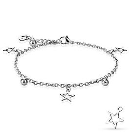 Star, Ball, and Heart Dangling Charm Chain 316L Stainless Steel Anklet/Bracelet (13.5 mm) - 9.25 in