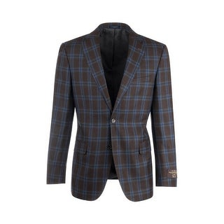 Dolcetto Brown with Blue and Light Blue Windowpane Modern Fit, Pure Wool Jacket by Canaletto Menswear C64.523/2