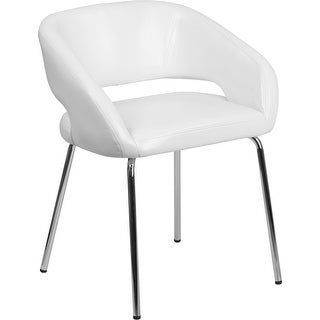 Brielle White Leather Side Office Reception/Guest Chair, Curvaceous Frame