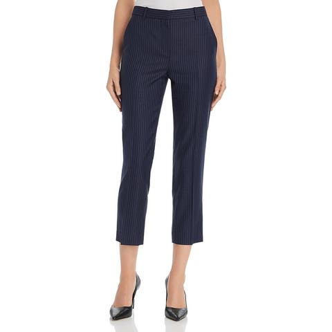 Theory Womens Tailor Pants Wool Straight Leg - Navy Sapphire Stripe