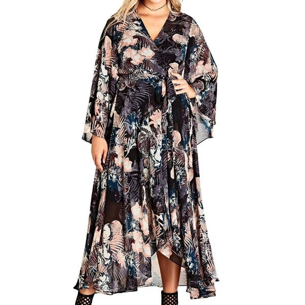2a69ecb8fa Shop City Chic Black Womens Size Large L Plus Dark Palm Wrap Maxi Dress - Free  Shipping Today - Overstock - 27277368
