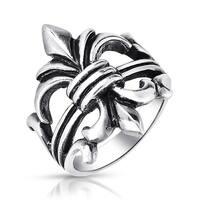 Sterling Silver Fleur de Lis Antique Style Ring