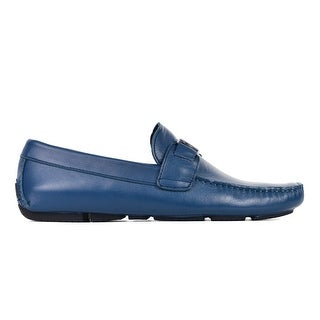 Versace Collection Men's Blue Leather Silver Hardware Loafers