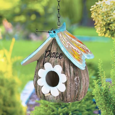 Exhart Butterfly Roof Peace Acorn Hanging Bird House, 7 Inch