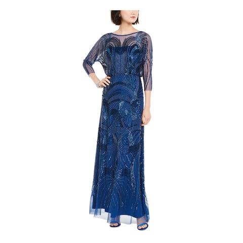 ADRIANNA PAPELL Blue 3/4 Sleeve Full-Length Dress 2P