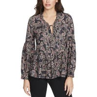 William Rast Womens Peasant Top Printed Pintuck