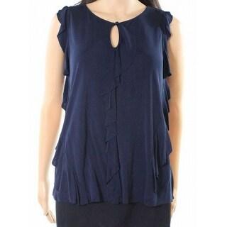 Elie Tahari NEW Navy Blue Women's Size Large L Keyhole Ruffled Blouse