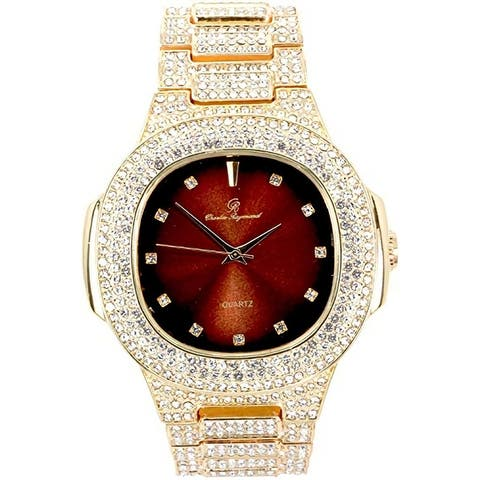 Bling-ed Out Oblong Metal Mens Color on Blast Watch - 8475ColorDX