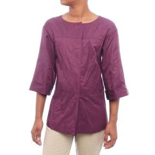 Lafayette 148 New York Women 3/4 Sleeve Snap Up Jacket Basic Jacket Fig