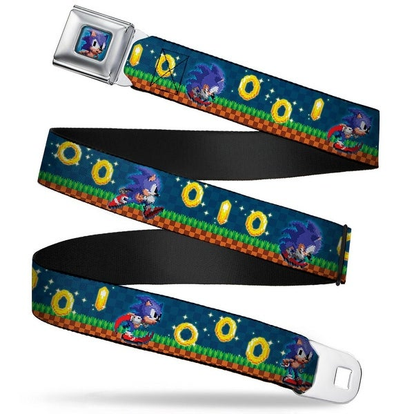 Sonic Classic Sonic Pixelated Pose Full Color Blue Sonic Collecting Rings Seatbelt Belt