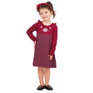 Pulla Bulla Toddler Girl Long Sleeve Bear Striped Dress