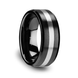 PHOENIX Brushed Black Ceramic Ring with Beveled Edges and Tungsten Inlay 8mm