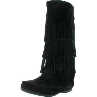 I Love Kids Ava-18K Children's 3-Layers Fringe Moccasin Style Mid-Calf Boots