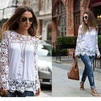 Blouses Embroidered Floral Crochet Shirts