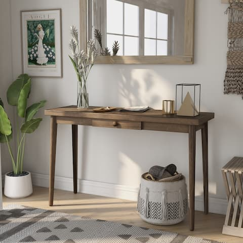 Furniture of America Abi Walnut 47-inch Solid Wood 1-drawer Sofa Table