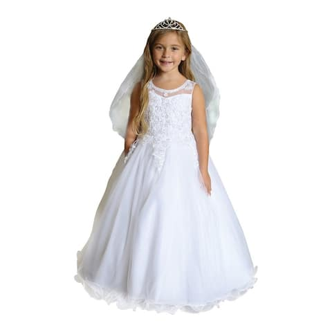 Angels Garment Girls White Satin Embroidered Tulle Communion Dress