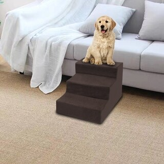 Link to 3 Step Velvet Suede Pet Stairs Pet Step Stairs Cat Dog Brown Similar Items in Dog Stairs & Ramps