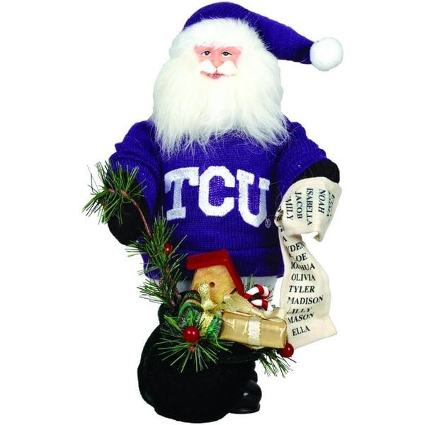 "10"" NCAA TCU Horned Frogs Gift Bearing Santa Claus Christmas Table Top Figure - PURPLE"