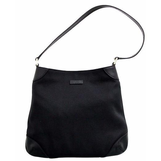 Gucci Capri Black Canvas Hobo Shoulder Bag