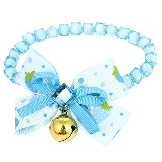 Unique Bargains Faux Crystal Accent Faceted Beads Collar Necklace Blue White S for Pet Dog Doggy