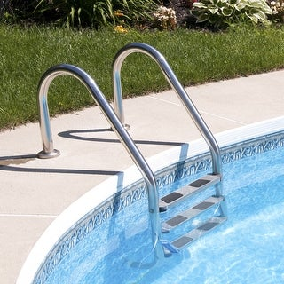 Gymax 3 Step Stainless Steel In-Ground Swimming Pool Ladder Anti-Slip Reverse Bend - as pic