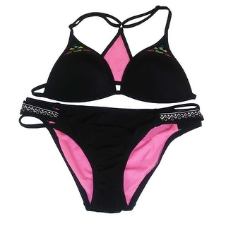 Victoria's Secret PINK 2PC Swimsuit Bikini Set Tribal Embroidery