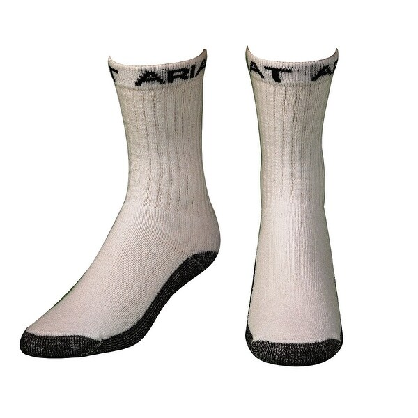 Ariat Socks Mens Work Boot Crew 3 pack Reinforced White