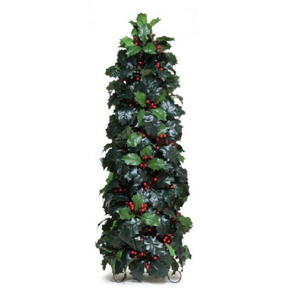 """Pack of 2 Green Conical Artificial Holly with Berries Tabletop Decorations 28"""""""