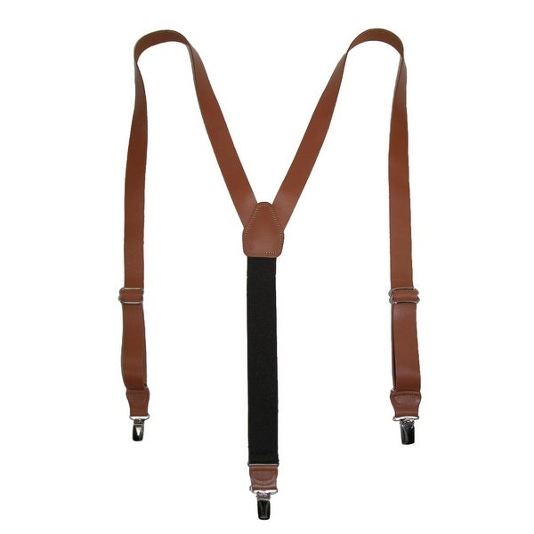 CTM® Men's Leather Clip-End 1 Inch Suspenders