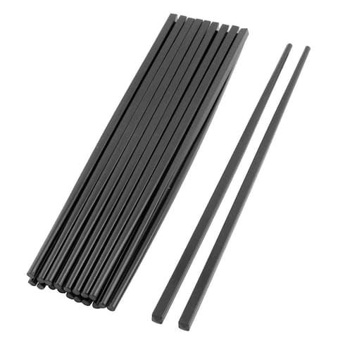 Dining Table Plastic Food Rice Noodles Chopsticks Black 26.5cm Length 10 Pairs