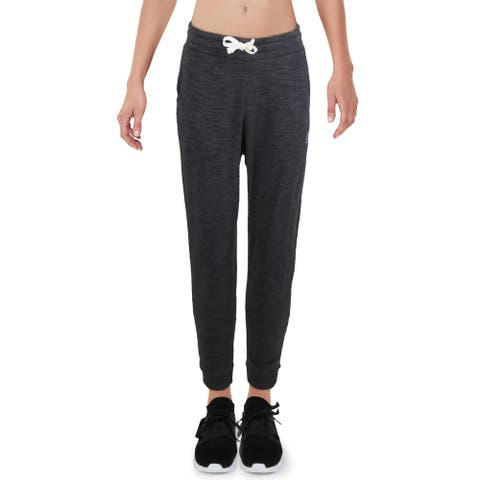 Reebok Womens Marble Athletic Pants Fitness Work Out - Black - M
