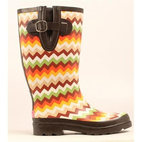 Womens Leanne Chevron Round Toe Rain Boots, Multi color - Size 7