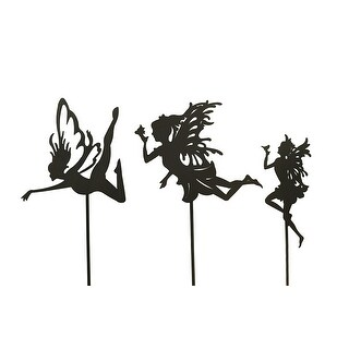 3 Pc. Rust Finish Fairy Silhouette Metal Garden Stake Set
