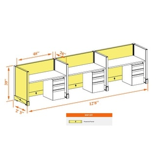 Small Cubicles 39H 3pack Inline Powered (2x4 - Walnut Desk White Paint - Assembly Required)