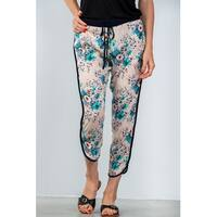 Ladies Fashion Drawstring Blush Floral Printed Contrast Trim Casual Pants - Size - L
